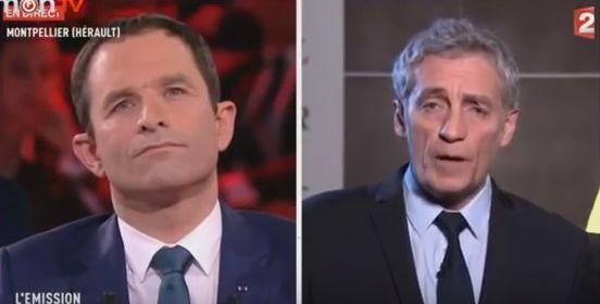 Benoit Hamon et Philippe Saurel, à l'Emission politique de France 2, le 9 mars.