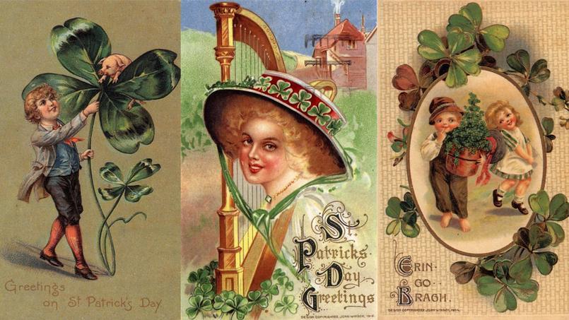 Cartes postales (1900) à l'occasion de la Saint-Patrick. La feuille de trèfle est l'emblème national de l'Irlande.