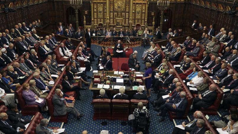 La chambre des Lords, à Londres, en Grande-Bretagne.