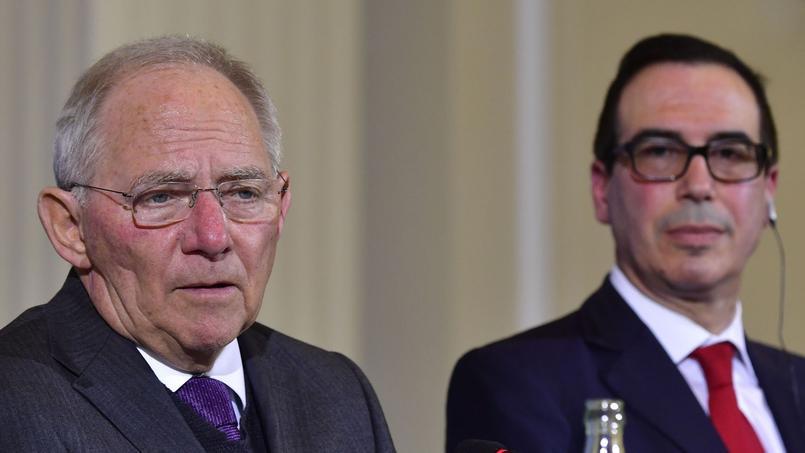 Le ministre allemand Wolfgang Schäuble et le secrétaire d'État au Commerce Steven Mnuchin se sont rencontrés à Berlin avant la réunion du G20 Finances à Baden-Baden.