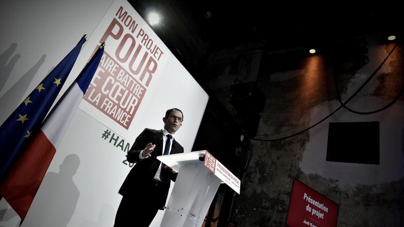 Benoît Hamon lors de la présentation de son programme, le 16 mars 2017.