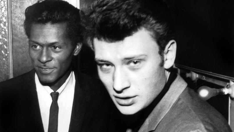 Johnny Hallyday à l'Olympia à Paris avec Chuck Berry, le 8 fevrier 1965.