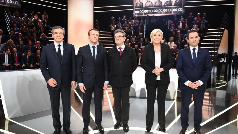 Les cinq participants au premier débat présidentiel organisé par TF1 hier.