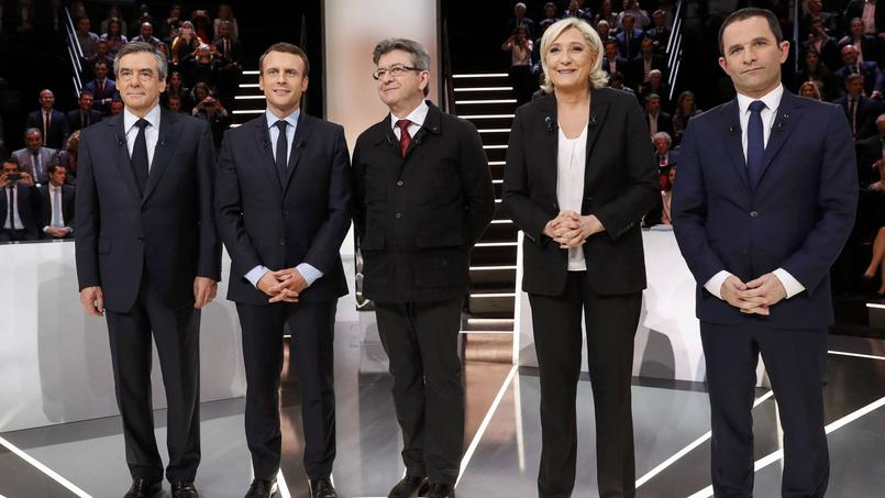 Les cinq candidats ayant pris part au premier débat télévisé de la campagne présidentielle organisé lundi par TF1.