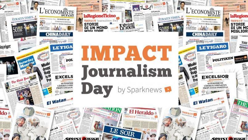 Les 55 journaux partenaires de l'opération annuelle Impact Journalism Day.