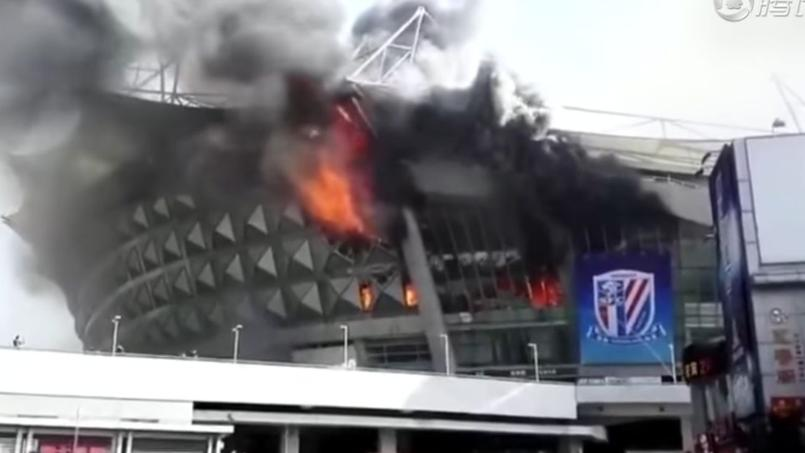 Un incendie impressionnant au stade du Shanghai Shenhua