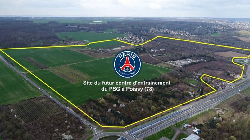 Le terrain du prochain centre d'entraînement du PSG. Crédit photo: Twitter officiel de la ville de Poissy