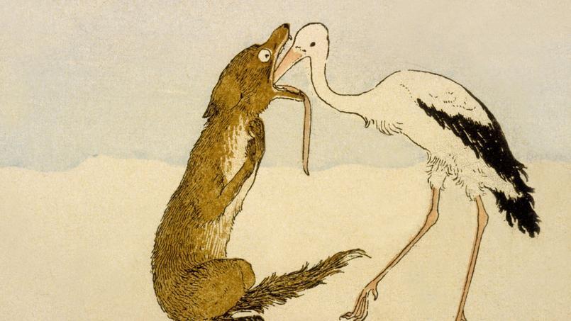 Fables de Jean de La Fontaine: Le loup et la cigogne, illustration par Jacques-Marie Boutet de Monvel, Plon, 1888.