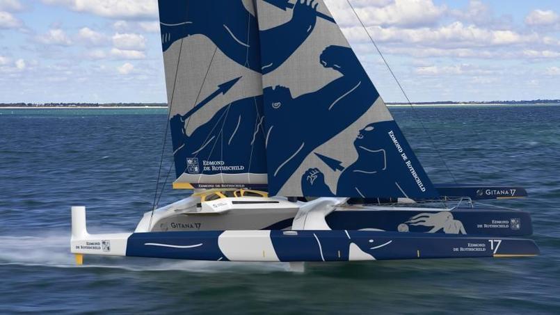 La projection 3D du maxi-trimaran Gitana 17 qui sera mis à l'eau en juillet prochain.