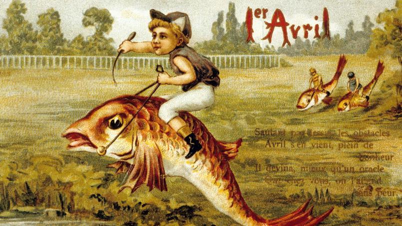 Ancienne carte postale (vers 1900) représentant une course de poisson d'avril.