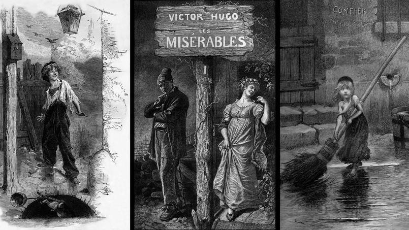 Illustrations datant de 1886 du roman «Les Misérables» de Victor Hugo: au centre le bagnard Jean Valjean et Fantine (gravure de Martin Landeval); à droite Cosette, à gauche Gavroche (deux gravures de Bellanger d'après Emile Bayard).