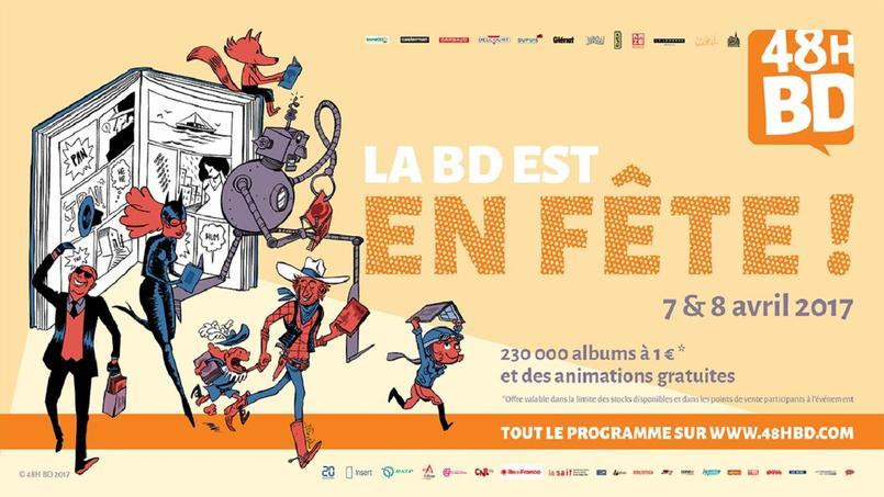 L'affiche des 48H BD qui se tiendront ces 7 et 8 avril durant lesquels douze albums seront au prix de 1€.