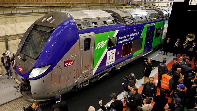 Un train Bombardier, à l'usine de Crespin, près de Valenciennes, dans le nord de la France.
