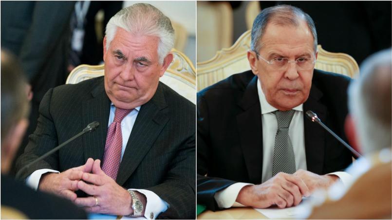 Le secrétaire d'État américain, Rex Tillerson et le ministre des Affaires étrangères russe, Sergueï Lavrov, mercredi, au Kremlin.