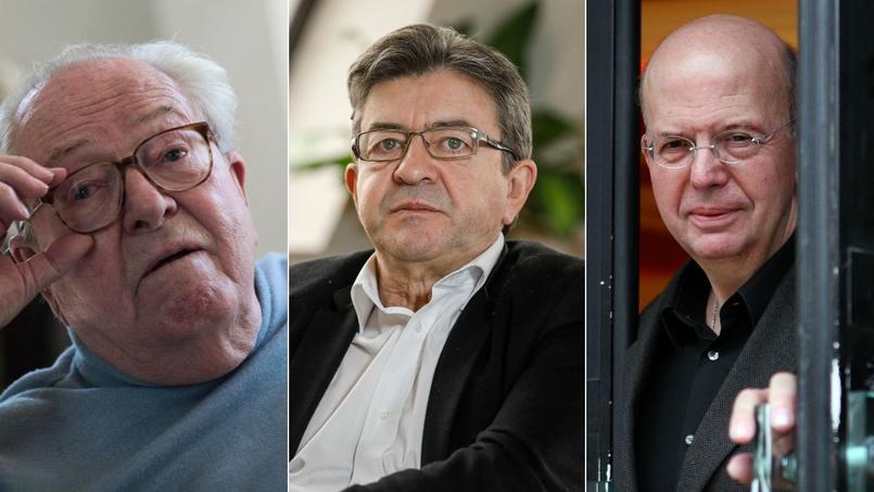 Jean-Marie Le Pen (g), Jean-Luc Mélenchon (c) et Patrick Buisson (d).