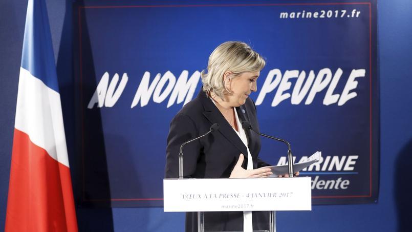 La candidate du Front national, Marine Le Pen, lors d'une conférence de presse