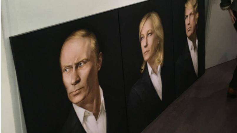 Le triptyque représentant Vladimir Poutine, Marine Le Pen, Donald Trump
