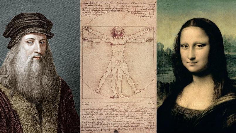 À gauche: gravure figurant l'artiste Léonard de Vinci, d'après un autoportrait. Au centre: un de ses dessins: L'homme de Vitruve. À droite: détail du tableau de la Joconde.