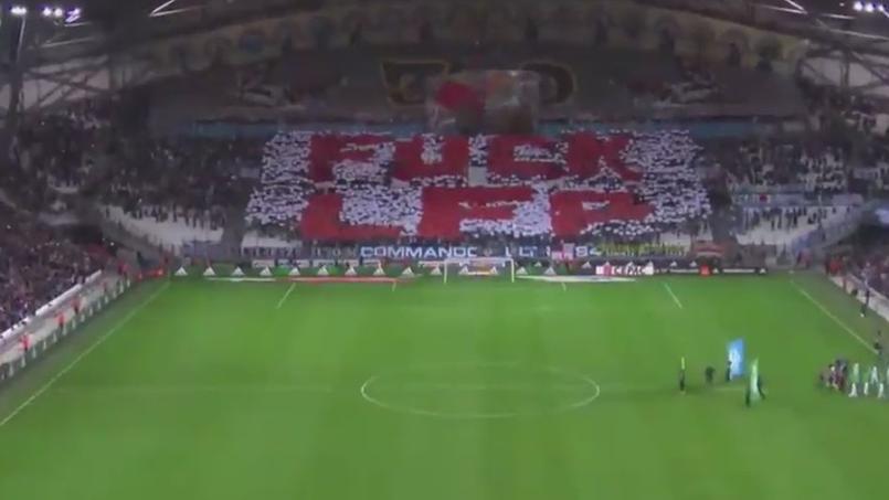 Le message des ultras marseillais lors du match OM-ASSE (4-0). Source: capture d'écran Twitter