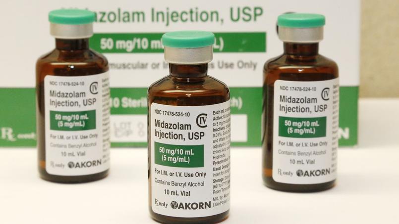 Des flacons de midazolam, un anxiolytique fréquemment utilisé pour les injections létales.