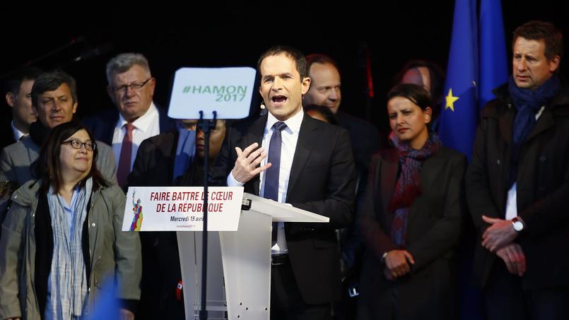 Benoît Hamon, place de la République, mercredi à Paris.