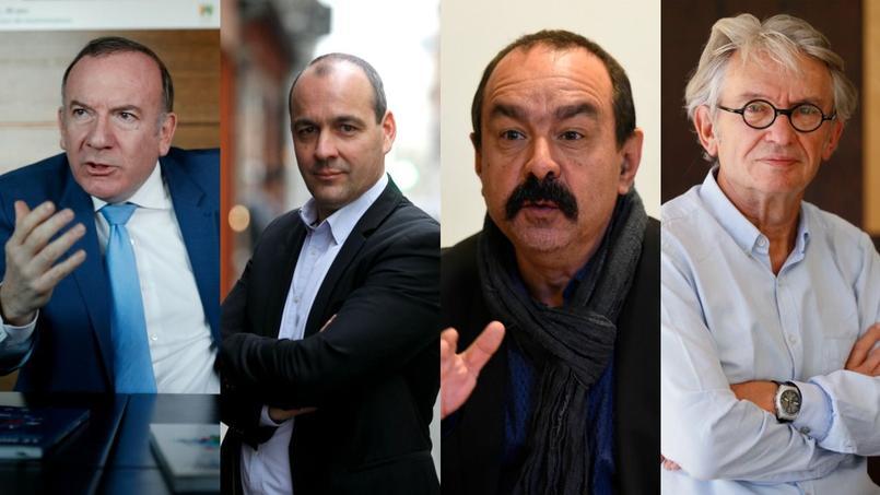 Pierre Gattaz (Medef), Laurent Berger (CFDT), Philippe Martinez (CGT) et Jean-Claude Mailly (FO).