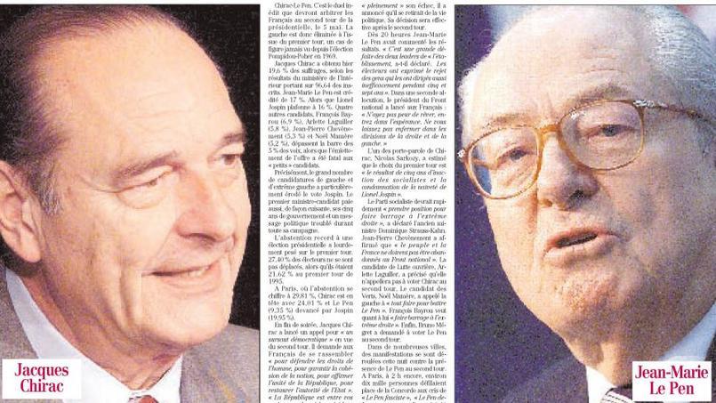 La Une du 'Figaro' du lundi 22 avril 2002.