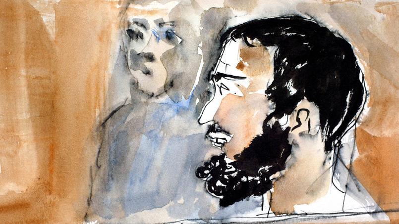 Croquis d'audience réalisé le 1er octobre 2002 devant la cour d'assises de Paris, de Smaïn Aït Ali Belkacem, lors de l'ouverture de son procès.