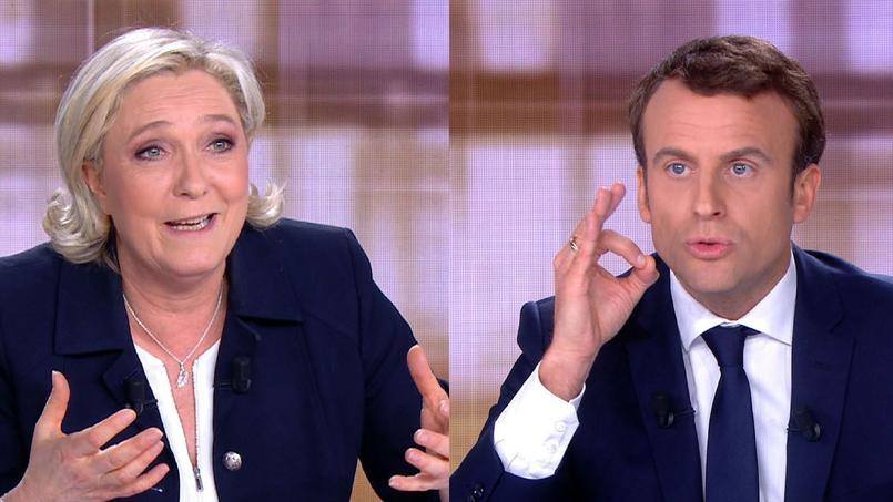 Marine Le Pen et Emmanuel Macron, mercredi soir, lors du débat de second tour de la présidentielle 2017.