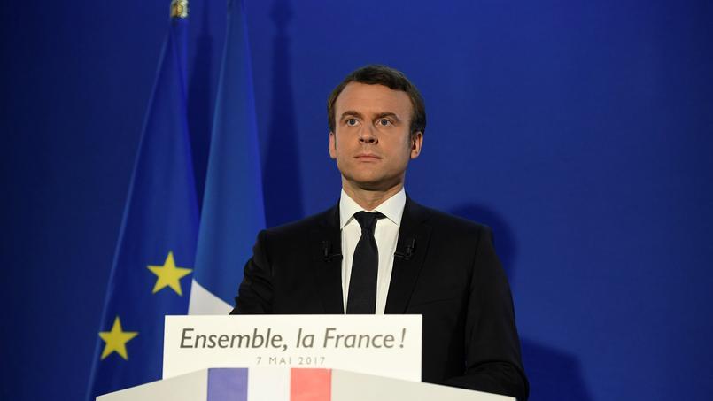 Emmanuel Macron, lors de son premier discours dimanche soir.