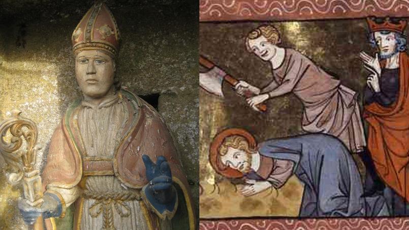 Statue de saint Servais et représentation du martyr de saint Pancrace.
