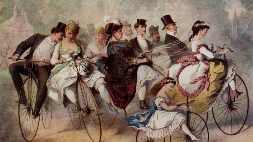 Lors d'une fête, vers 1860, les invités s'amusent sur leurs vélocipèdes.