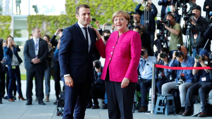 Emmanuel Macron et Angela Merkel à Berlin.