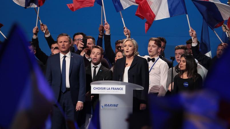 Nicolas Dupont-Aignan et Marine Le Pen le 1er mai dernier