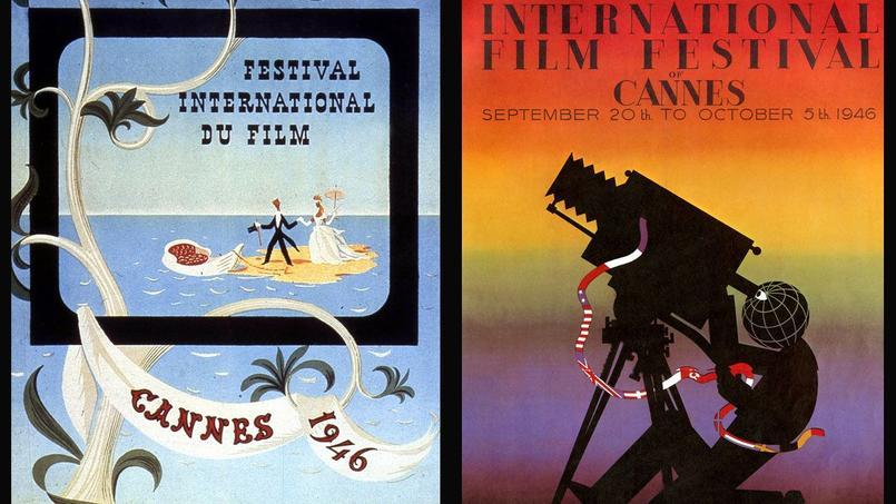 Des affiches en français et en anglais pour le premier Festival de Cannes qui ambitionne de devenir le grand rendez-vous du cinéma mondial.