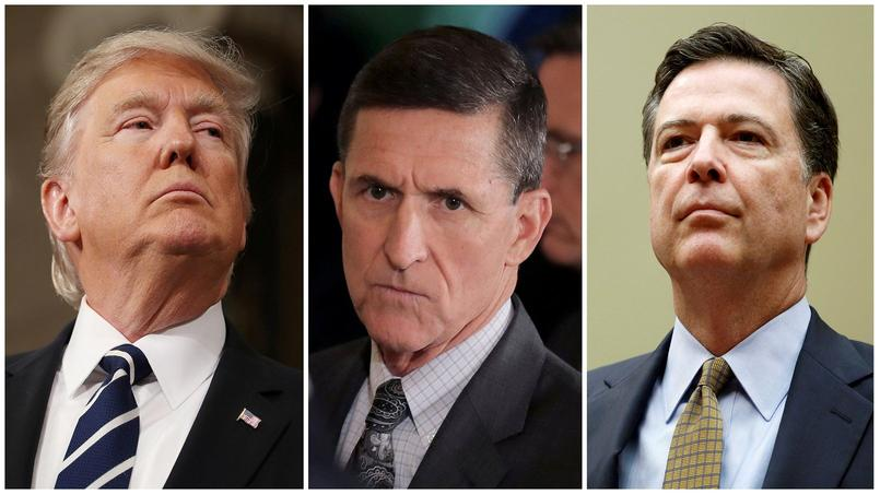 Donald Trump, Michael Flynn et James Comey.