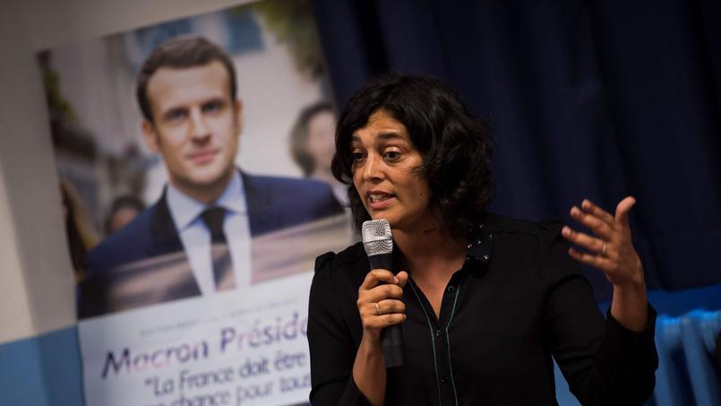 Myriam El Khomri; le 1er juin dernier, lors d'un meeting devant des supporters de La République en Marche.