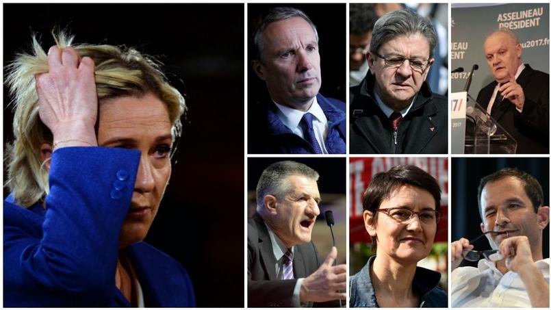 Marine Le Pen, Nicolas Dupont Aignan, Jean-Luc Mélenchon, François Asselineau, Jean Lassalle , Nathalie Arthaud et Benoît Hamon