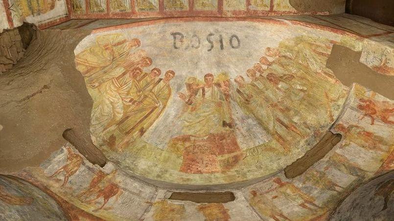 Fresque de la chambre funéraire des «boulangers» dans les catacombes de Domitilla.