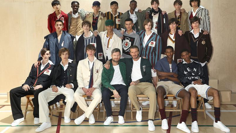 Daniel Kearns et David Beckham (au centre) présentent leur collection Kent & Curwen pour l'été 2018.