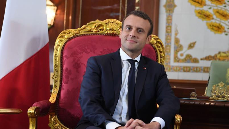 Le président Emmanuel Macron, au Palais royal de Rabat.