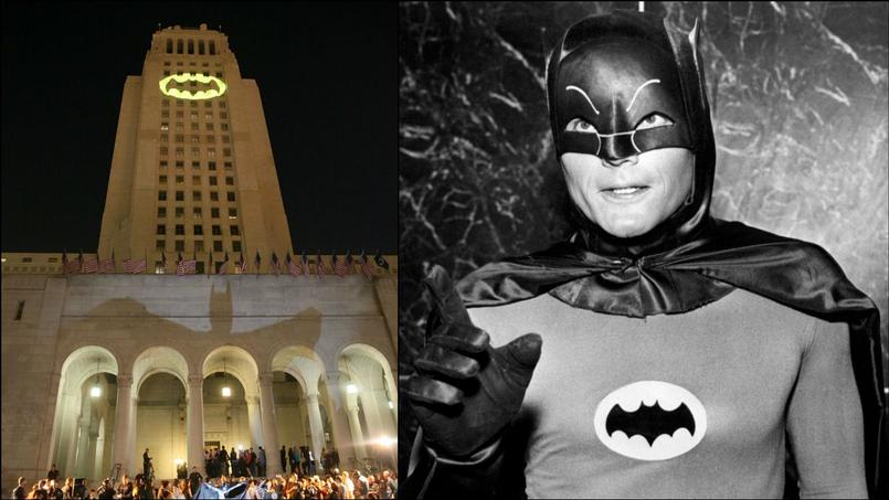 Un véritable bat-signal a été projeté sur la mairie de Los Angeles en hommage à Adam West (à droite, en 1966).