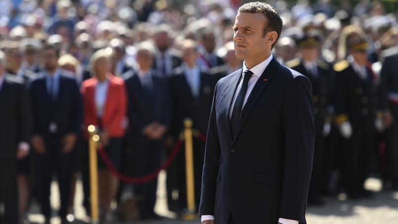Le président Emmanuel Macron commémorant l'appel du 18 juin au Mont Valérien.