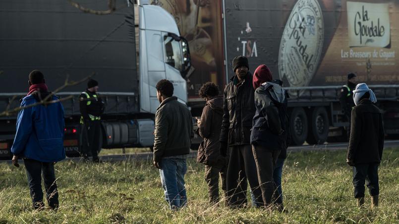 Photo d'archive prise le 21 janvier 2016 près du site d'Eurotunnel à Coquelles, près de Calais, où des policiers empêchaient des migrants de monter dans les camions.