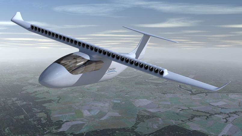Vue d'artiste du «concept-plane» Ampere, un avion à propulsion tout électrique, développé par l'Onera.