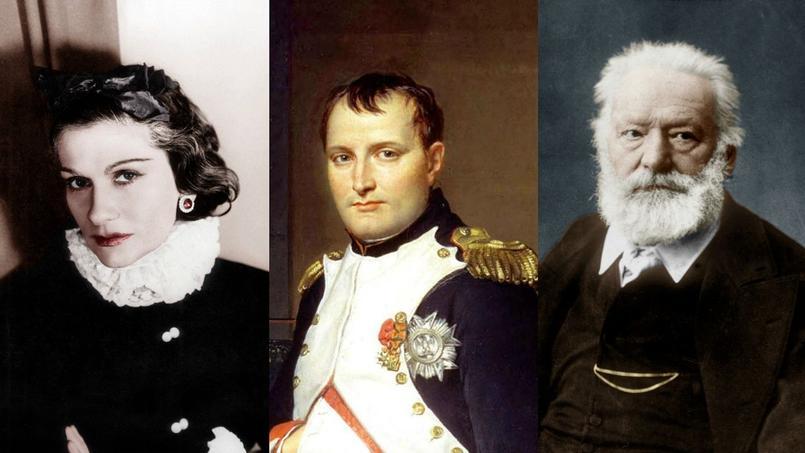Coco Chanel, Napoléon Bonaparte et Victor Hugo.