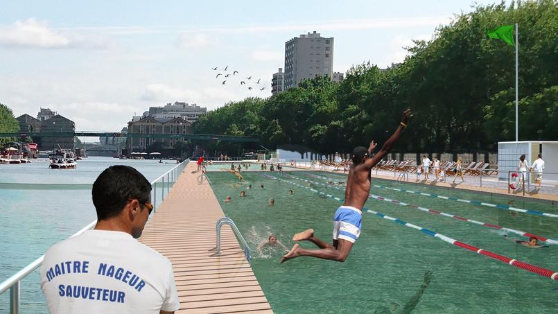 Baignade dans le bassin de La Villette (Paris XIXe) pour Paris Plages.