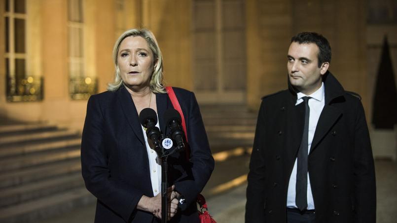 Marine Le Pen et Florian Philippot à l'Elysée, le 15 novembre 2015.