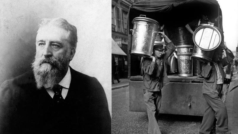 C'est au préfet Eugène Poubelle (1831-1907) que l'on doit la mise en place en 1884 de la collecte des ordures ménagères à Paris (ici en 1951, livraison de nouvelles poubelles). A l'origine, le ramassage se faisait avec des charrettes.