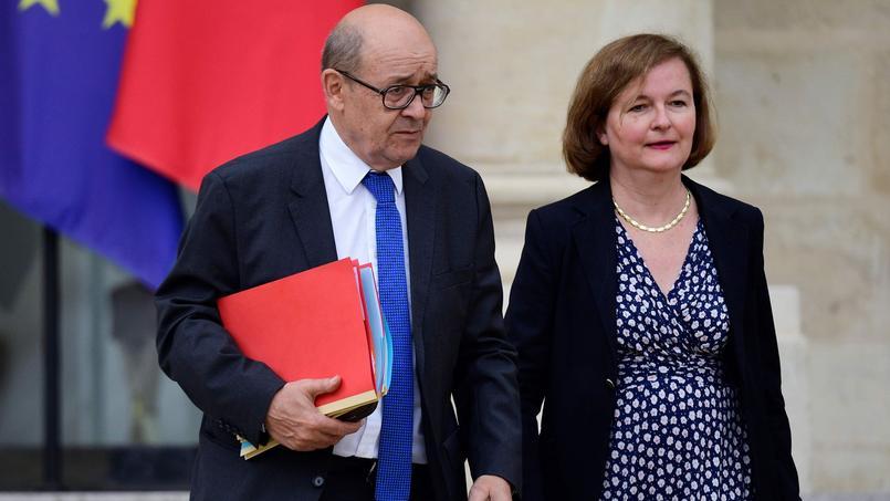 L'ancien ministre de la Défense, passé au Quai d'Orsay, s'est affiché quelques minutes sur le perron de l'Élysée avec la ministre chargé des Affaires Européennes Nathalie Loiseau.